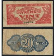 Billete local 1937 Ajuntament de Tremp  20 Cts.