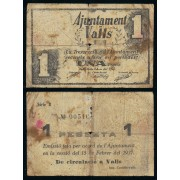 Billete local 1937 Ajuntament de Valls  1 Peseta.