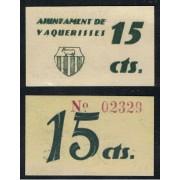 Billeet local 1937  Ajuntament de Vaquerisses 15 Cts.