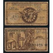 Billete local 1937 Ajuntament de Vic  25 Cts