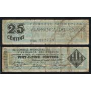 illete local 1937 Ajuntament de Vilafranca del Penedès  25 Cts.