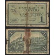 Billete local 1937 Ajuntament de Cervera  1 Peseta