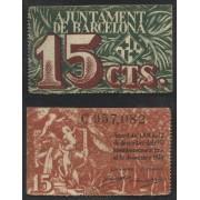 Billete local 1937 Ajuntament de Barcelona 15 Cts.