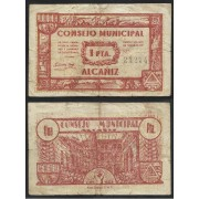 Billete local 1937 Consejo Municipal de Alcañiz 1 Peseta