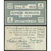 Billete local 1937 Consejo Municipal de Fayón 2 Pesetas