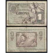 Billete local 1937   Ajuntament de Girona 1 Peseta