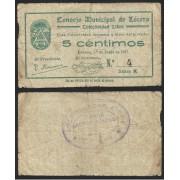 Billete local 1937 Consejo Municipal de Lécera ( Zaragoza ) 5 Cts