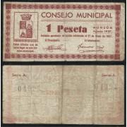 Billete local 1937 Consejo Municipal de Monzón 1 Peseta