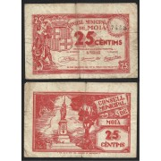 Billete local 1937 Ajuntament de Moià 25 Cts.