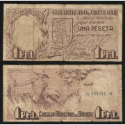 Billete Consejo Municipal de Vinaroz 1 Peseta 1-2-1937