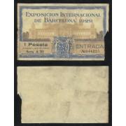 Entrada Exposición Internacional de Barcelona 1929 1 Peseta