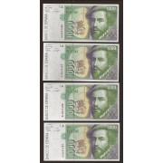 España Billete 4 correlativos 1000 Pesetas  12 10 1992  Serie 6L  SC