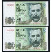 España Billete Pareja correlativa 1000 Ptas 23 10 1979 Sin Serie SC