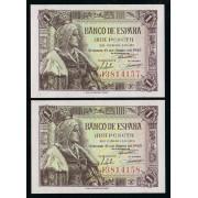 España Billete  1 Peseta 15 junio  1945 Pareja correlativa  Serie J  SC