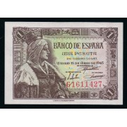 España Billete 1 peseta 15 junio 1945  Serie G  SC