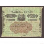 Billete 100 Reales de Vellón  1862  Banco de Cádiz  2ª Emisión  MBC-