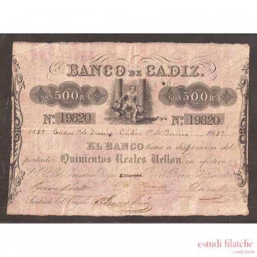 Billete 500 Reales de Vellón 1859 Banco de Cádiz  1ª Emisión  MBC