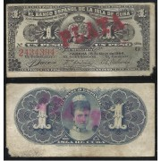 Billete de Cuba Banco de España  1 Peso 1896  BC