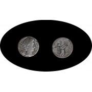 Moneda romana Denario Augusto, emperador de 27 a.C. a 14 d.C.