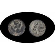 Moneda romana AS Augusto, emperador romano desde 27 a.C. hasta 14 d.C.