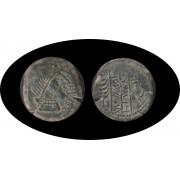 Moneda romana AS Obulco (Porcuna, Jaén) Hacia 125-100 a.C.