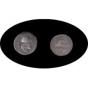 Moneda romana Denario Familia Tulia Acuñada alrededor del año 120 a.C.1