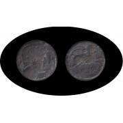 Moneda romana AS Iltirta (Lérida) Fecha acuñación: 104-80 a.C.