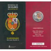 España Spain 2018 Cartera Oficial Moneda 30€ euros Av Felipe VI Plata Color FNMT