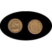 España Spain Isabel II 1863 100 reales Madrid Oro Au Gold