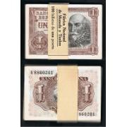 España  Billete 1 peseta   22 julio 1953 Taco de 100 Billetes Serie V  SC-