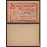 Billete local 1937 Unió de Cooperadors de Barcelona 5 Pesetas  SC-