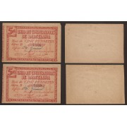 Billete local 1937 Pareja Unió de Cooperadors de Barcelona 5 Pesetas  SC-