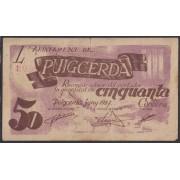 Billete local 1937 Ajuntament de Puigcerda 50 Cts.