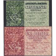 Billete local 1937 Ajuntament de Barcelona  50 cts + 1,50 Cts. Sin Circular