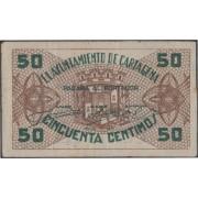Billete local 1937 Ayuntamiento de Cartagena  0,50 cts