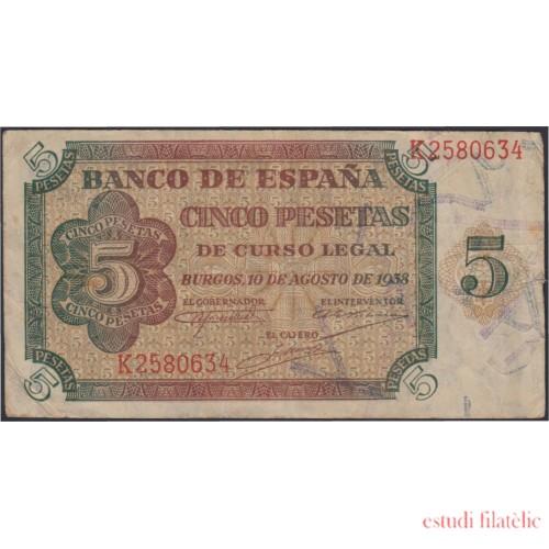 España Billete 5 pesetas 10 de agosto de 1938