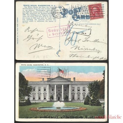 Estados Unidos Postal de Washington a Nuremberg 1926