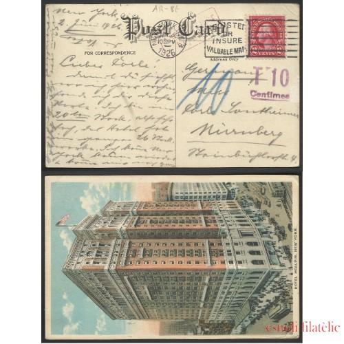 Estados Unidos Postal de New York a Nuremberg 1926