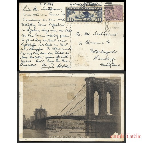 Estados Unidos Postal de New York a Nuremberg 1929