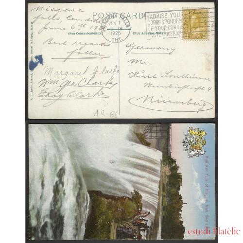 Canadá Postal de Niágara Falls a Nuremberg 1926