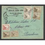 España Carta de Badajoz a Barcelona 1936 Marca Censura Oliva de la Frontera