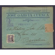 España Carta de Játiva a Barcelona 1939 Marca Censura Militar Játiva