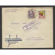 España Carta de Valencia a Barcelona 1939  Marca Censura Militar Valencia del Cid