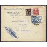 España Carta de 1939 con  Marca Censura Barcelona