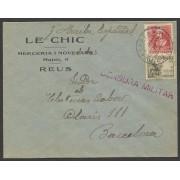 España Carta de Reus a Barcelona 1939 Marca Censura Reus