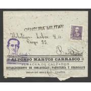 España Carta de Beas de Segura (Jaén) a Barcelona 1939 Marca Arriba España