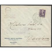 España Carta de Malagón (Ciudad Real) a Barcelona 1939 Marca Militar Malagón