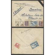 España Carta de Loja (Granada) a Barcelona 1939 Marca Censura Militar