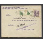 España Carta de Zaragoza a Barcelona 1939 Marca Censura Militar Zaragoza