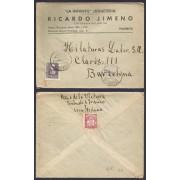 España Carta de Palencia a Barcelona 1939 Marca Censura Militar Palencia